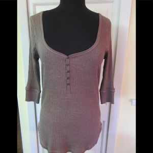 Anthro rib knit top by We The Free brown sz med
